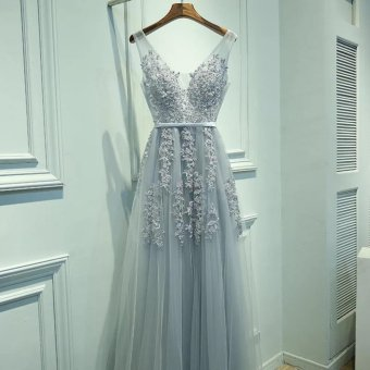 Long term Bride Bridesmaid Dress banquet gown bride toast silver gray - intl