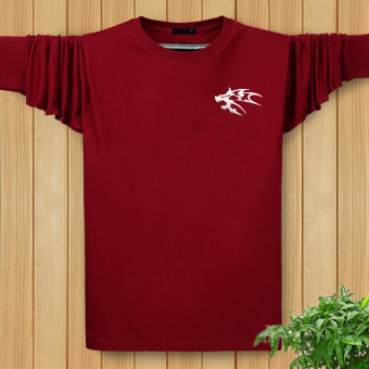 LOOESN autumn men Plus-sized long-sleeved heattech I shirt (Long-sleeved wolf totem wine red color)