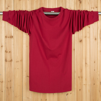 LOOESN autumn Plus-sized long-sleeved bottoming shirt T-shirt (Solid color wine red)