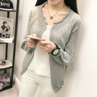 LOOESN autumn thin Top (Long-sleeved gray)