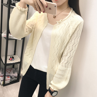 LOOESN autumn thin Top (Long-sleeved off-white)
