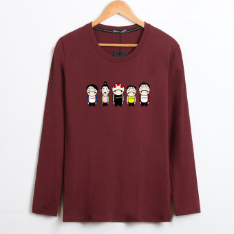 LOOESN casual cotton Plus-sized round neck t-shirt New style long-sleeved t-shirt (Five people figure wine red color)