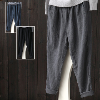 LOOESN casual linen spring New style long pants cotton linen women's pants (Dark blue color)