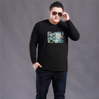 LOOESN cotton men long-sleeved Plus-sized T-shirt (Black)