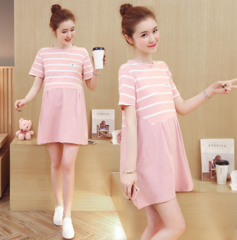 LOOESN cotton New style home summer Top dress (Pink)