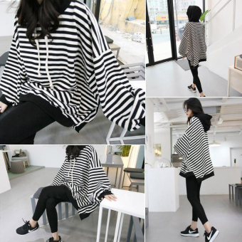 LOOESN cotton Plus-sized mid-length striped Top hoodie hooded shirt