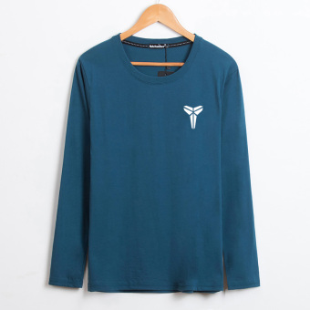 LOOESN cotton Plus-sized round neck middle-aged heattech T-shirt (Xiao Ke Peacock blue)