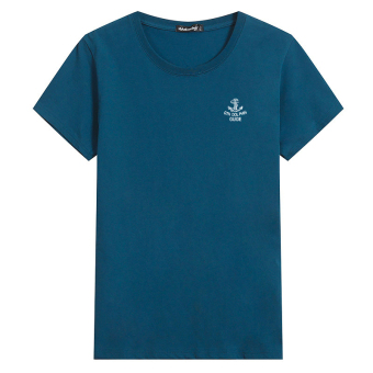 LOOESN cotton round neck Plus-sized base shirt T-shirt (Anchor Peacock blue)