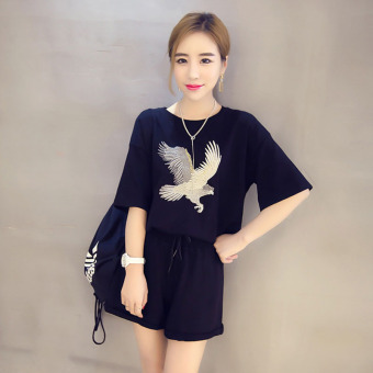 LOOESN cute Female Cotton Short sleeved shorts summer tracksuit Korean-style pajamas (Black Kitty)