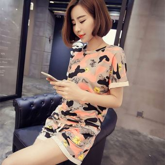 LOOESN cute Female Cotton Short sleeved shorts summer tracksuit Korean-style pajamas (Camouflage)