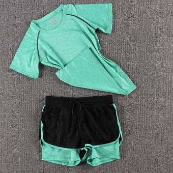 LOOESN female fitness room running pants yoga clothes (Colorful t green + new network shorts green)
