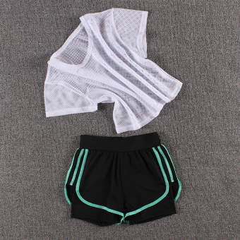 LOOESN female fitness room running pants yoga clothes (Network t white + three side shorts colorful green)