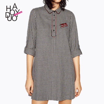LOOESN haoduoyi2017 sweet autumn New style shirt-style dress