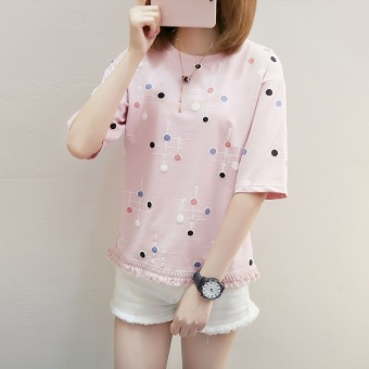 LOOESN indie short sleeved female Top sweet Top (Pink)