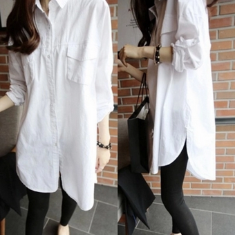 LOOESN Korean Spring and Autumn New style Plus-sized shirt dress (White Double pockets)
