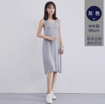 LOOESN Korean-style black mid-length sleeveless nightgown vest dress (Gray (mid-length))