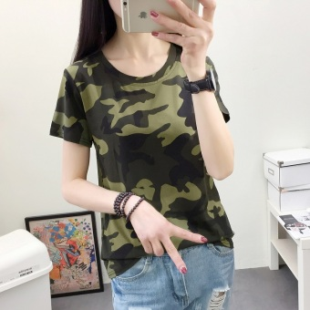 LOOESN Korean-style camouflage short sleeved t-shirt (490 (green camouflage))