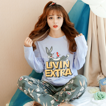 LOOESN Korean-style cotton female long-sleeved tracksuit pajamas (09_W9147 # Bugs Bunny purple)