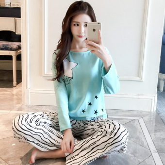 LOOESN Korean-style cotton female long-sleeved tracksuit pajamas (Blue Star)