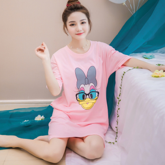 LOOESN Korean-style cotton female student pajamas summer nightgown (1112 Donald Duck pink dress)