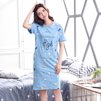 LOOESN Korean-style cotton Female Summer pajamas lingerie (6002 short sleeved high dress)