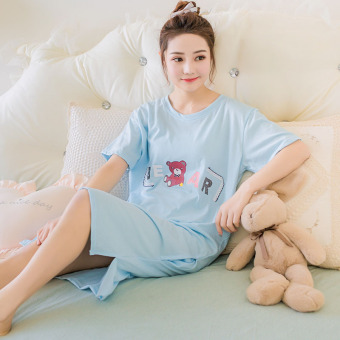 LOOESN Korean-style cotton Female Summer sexy pajamas lingerie (660 sky blue color)