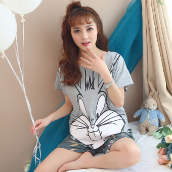 LOOESN Korean-style cotton Female Summer tracksuit pajamas (7728 gray bugs bunny)