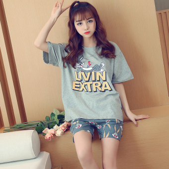 LOOESN Korean-style cotton Female Summer tracksuit pajamas (8019 gray Top Bugs Bunny)