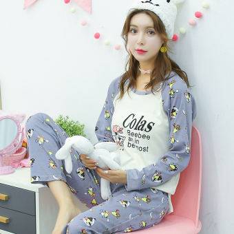 LOOESN Korean-style cotton girl's Spring and Autumn tracksuit pajamas (L5818 # Cute mouse)