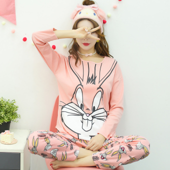 LOOESN Korean-style cotton girl's Spring and Autumn tracksuit pajamas (L5822 # powder Bugs Bunny)