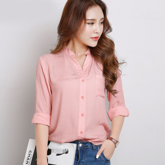 LOOESN Korean-style cotton linen New style long-sleeved Top white shirt (Pink Collar long-sleeved)