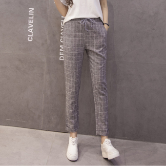 LOOESN Korean-style cotton linen spring New style harem pants women's pants (Dark gray color)