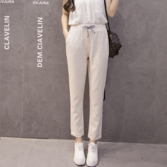 LOOESN Korean-style cotton linen spring New style harem pants women's pants (Off-white color)