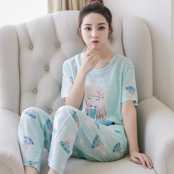 LOOESN Korean-style cotton silk female student tracksuit pajamas (Beige)
