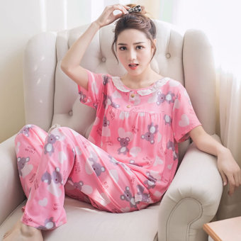 LOOESN Korean-style cotton silk female student tracksuit pajamas (Pink)