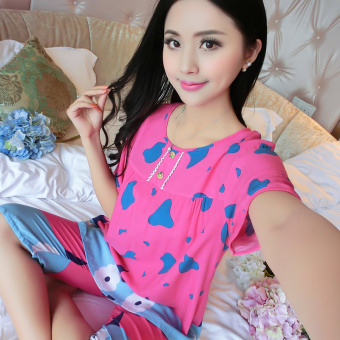 LOOESN Korean-style cotton silk female summer pajamas (Short sleeved cows rose)