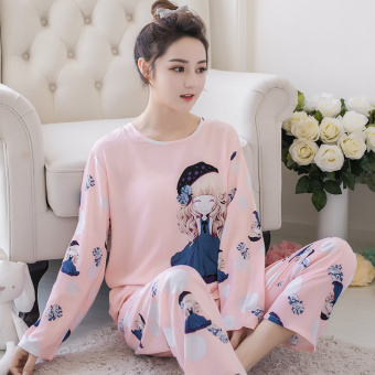 LOOESN Korean-style cotton silk female summer tracksuit pajamas (Long-sleeved purple Wan girl)