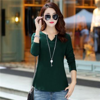 LOOESN Korean-style cotton solid color New style base shirt T-shirt (Dark green color)