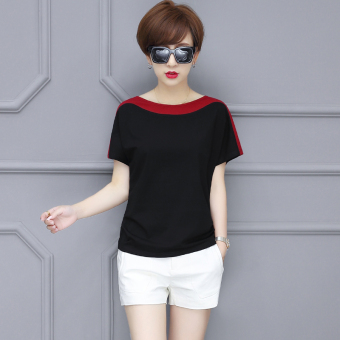 LOOESN Korean-style cotton solid color round neck bat T-shirt (Black)