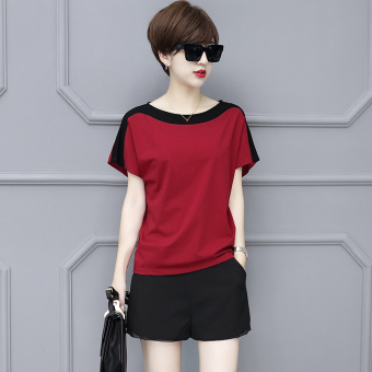 LOOESN Korean-style cotton solid color round neck bat T-shirt (Hong plus black)