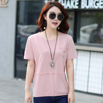 LOOESN Korean-style cotton solid color summer T-shirt Top (Pink color)