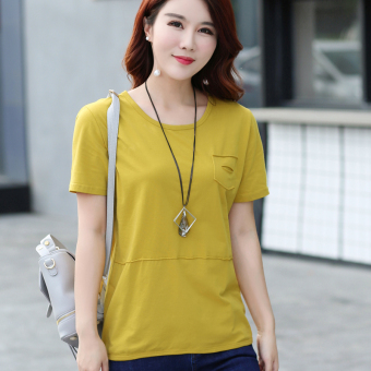 LOOESN Korean-style cotton solid color summer T-shirt Top (Yellow)