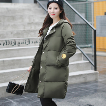 LOOESN Korean-style embroidered female mid-length down padded coat (Dark green color)