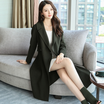 LOOESN Korean-style female mid-length New style woolen coat (Dark green color)