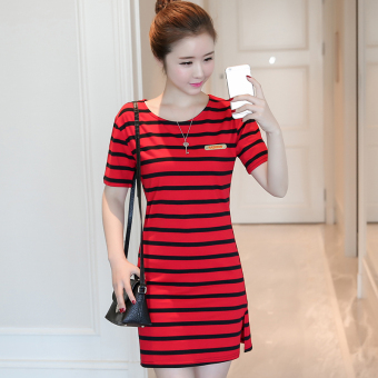 LOOESN Korean-style female mid-length striped dress (5831 red)