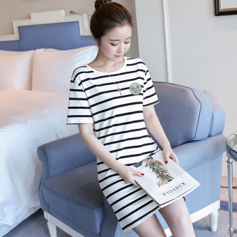 LOOESN Korean-style female mid-length striped dress (5834 white)
