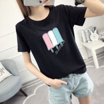 LOOESN Korean-style female Short sleeve student Top T-shirt (518-black)