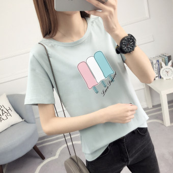 LOOESN Korean-style female Short sleeve student Top T-shirt (518-light blue)