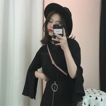 LOOESN Korean-style female student female Top solid color long-sleeved t-shirt (Black)