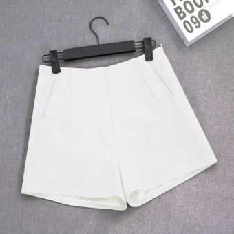 LOOESN Korean-style Female Summer New style suit casual pants shorts (White)